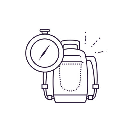 compass guide device with travelbag vector illustration design