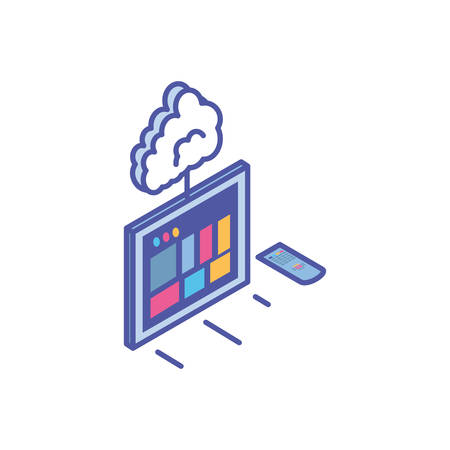 tv screen with remote control and cloud information vector illustration design