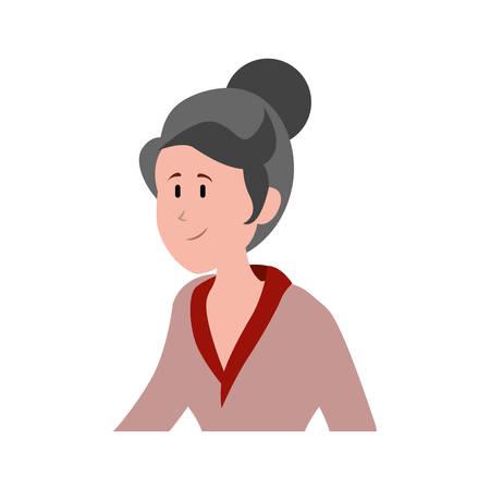 old woman avatar character vector illustration design