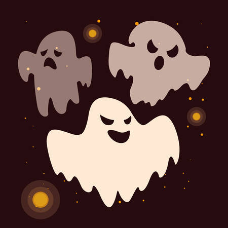 set of halloween ghosts with horror faces vector illustration design