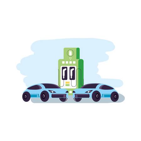 cars sedan transportation with station service energy electric vector illustration design Illustration