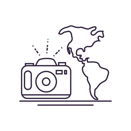 world planet earth maps with camera photographic vector illustration design