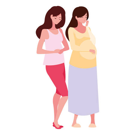 Pregnant women design, Mother family love pregnancy maternity expecting and motherhood theme Vector illustration