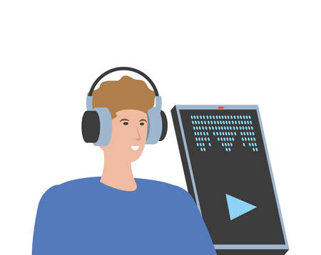 young man with smartphone and headset vector illustration design