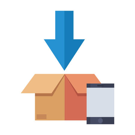cardboard box arrow down fast delivery vector illustration
