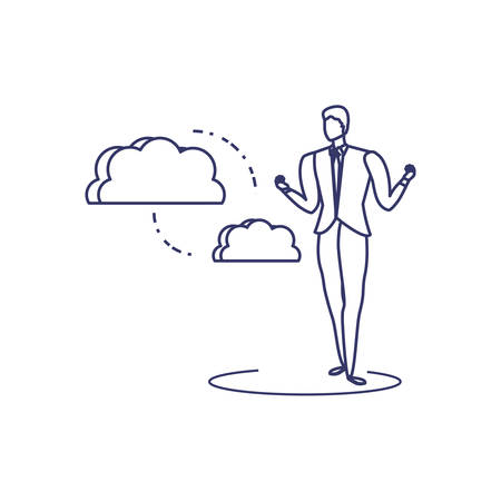 silhouette of man sharing cloud information vector illustration design Illustration