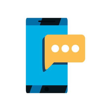 smartphone speech bubble message icon vector illustration