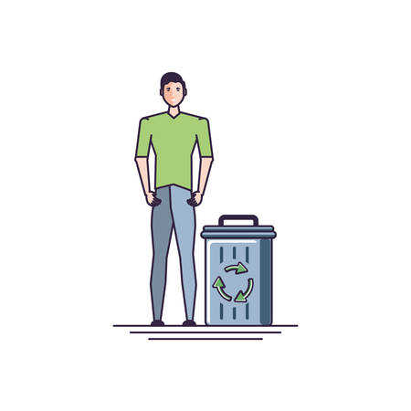 young man and recycle bin with signaling vector illustration design