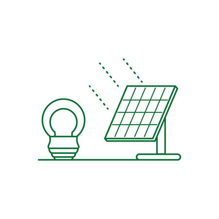 saving bulb electric with solar panel energy vector illustration design Stock Illustratie
