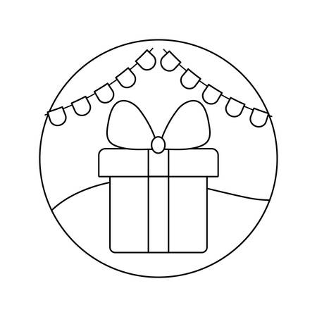 gift box present with garlands in frame circular vector illustration design
