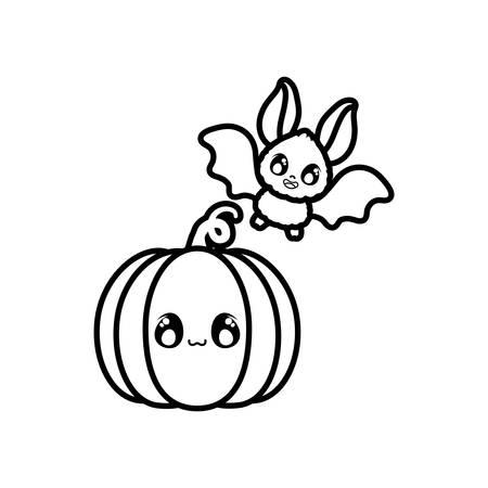 bat flying with pumpkin on white background vector illustration design