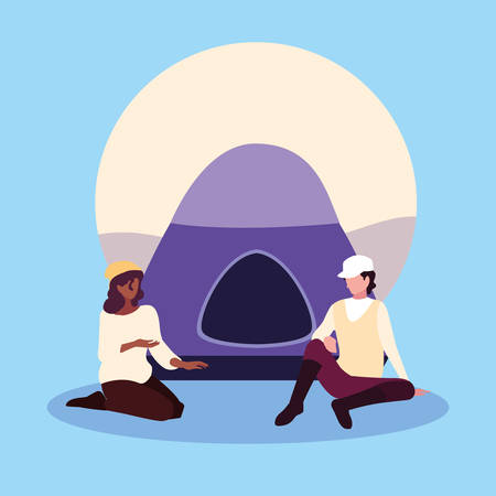 young couple with tent campaing vector illustration design