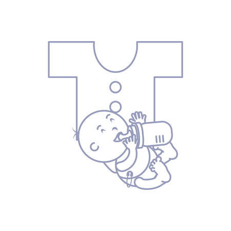 cute baby boy with bottle milk and clothes for baby vector illustration design