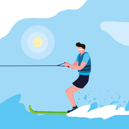 Joven practicando esquí acuático, diseño de ilustraciones vectoriales Ilustración de vector