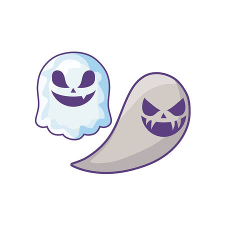 spooky halloween ghosts on white background vector illustration design