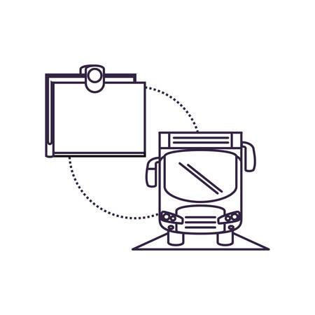 bus transport vehicle with wallet vector illustration design