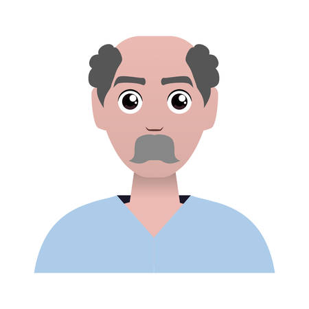 old man bald with mustache avatar character vector illustration design