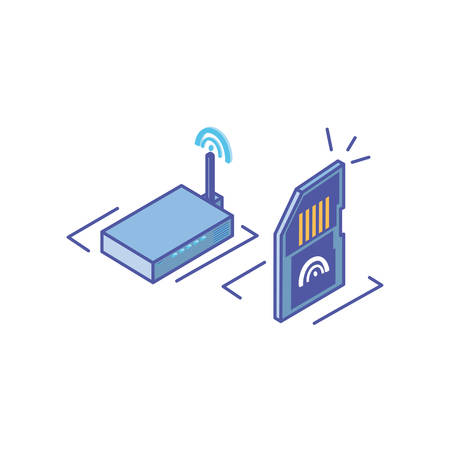 wireless router with micro sd card vector illustration design Illustration