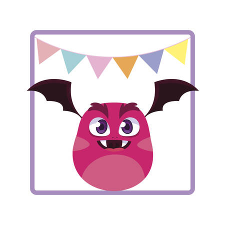 square frame with monster flying and party garlands vector illustration design