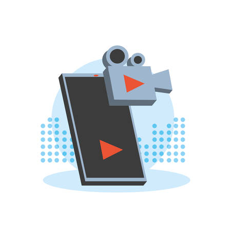 video camera film with smartphone vector illustration design Ilustração