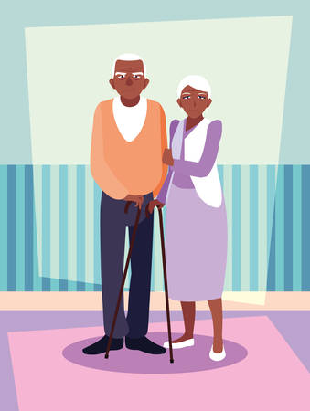 cute old couple afro avatar character vector illustration design
