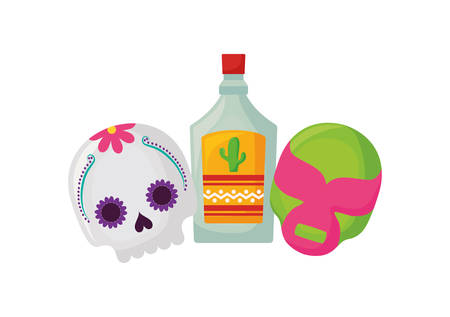 tequila bottle, traditional Mexican drink in white background vector illustration design Standard-Bild - 136262221