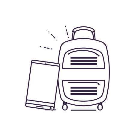 smartphone with suitcase travel app vector illustration design