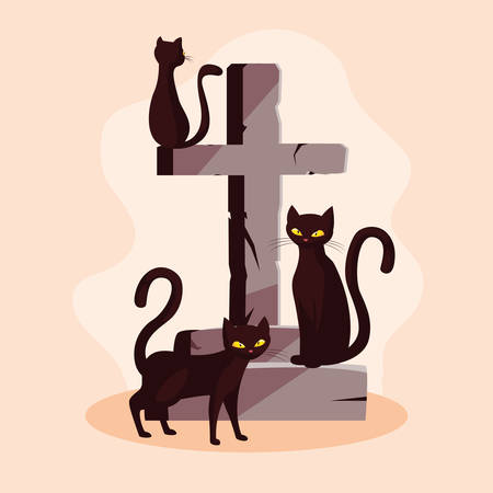 cats feline animals of halloween with cross stone vector illustration design