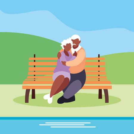 cute old couple seated in chair of park vector illustration design Фото со стока - 136277919