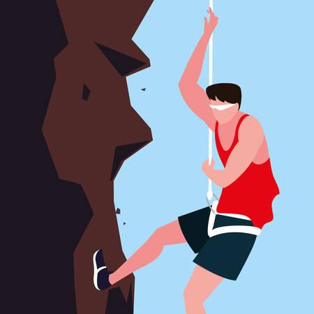 man athlete practicing climbing character vector illustration design