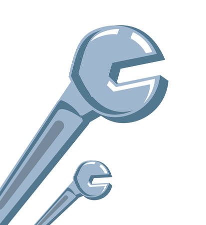 set of wrenches key tools isolated icon vector illustration design