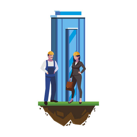 male builder constructor with woman engineer and building vector illustration Vectores