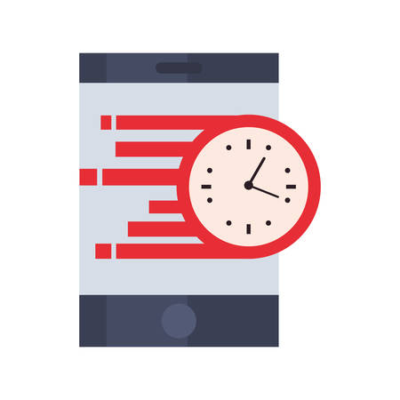 smartphone clock time fast delivery logistic vector illustration