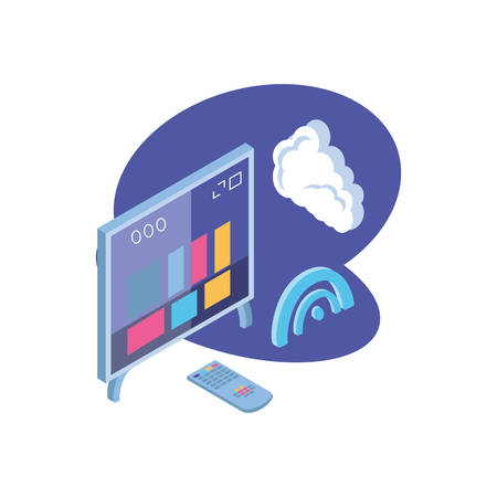 tv screen with remote control and cloud information vector illustration design Ilustração
