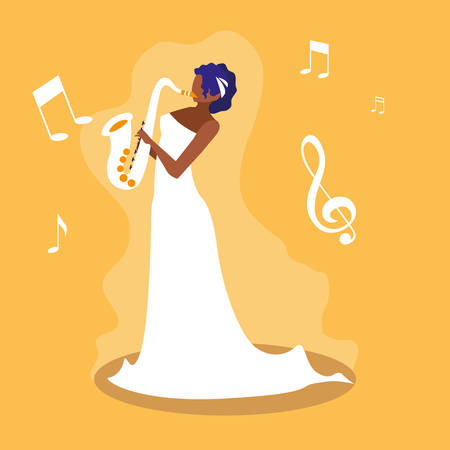 woman playing saxophone avatar character vector illustration design