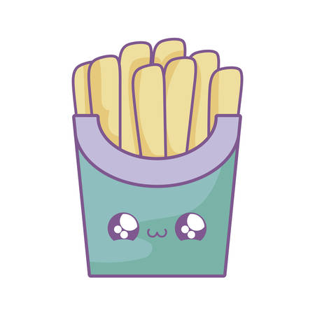 fresh french fries kawaii style vector illustration design