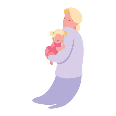 dad carrying his baby in his arms vector illustration