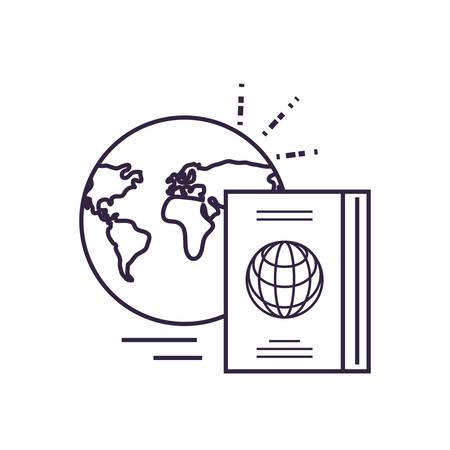 passport document travel with world planet vector illustration design Vectores