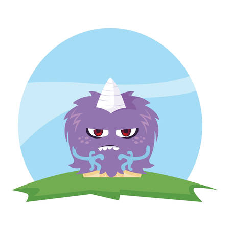 funny monster with horn in the field vector illustration design Illustration