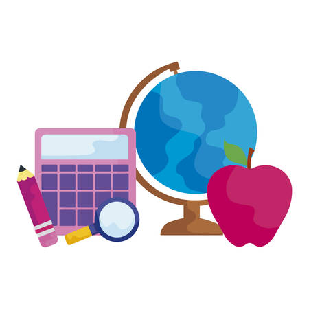 terrestrial globe with calculator and set supplies vector illustration design