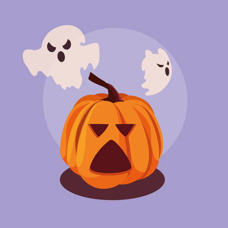 halloween pumpkin with ghosts flying vector illustration design