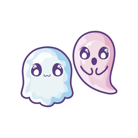 funny halloween ghosts on white background vector illustration design