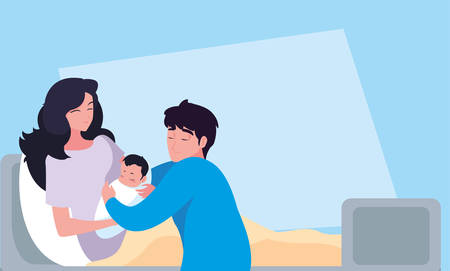 mother with newborn in stretcher and father observing vector illustration design
