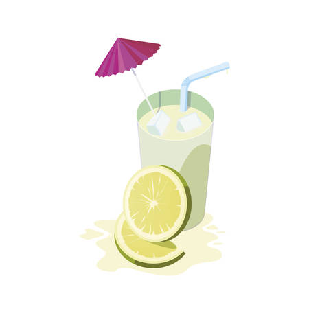 fresh lemon juice fruit cocktail vector illustration design