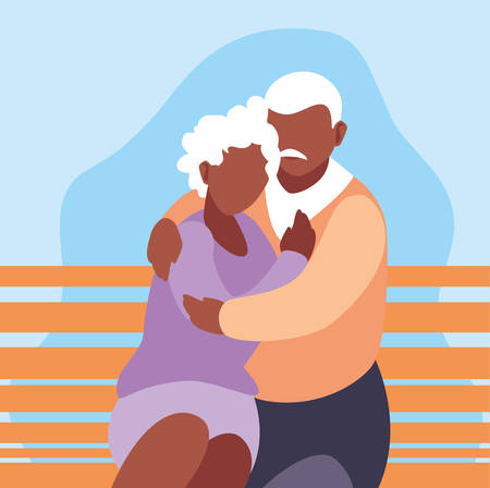 cute old couple seated in chair of park vector illustration design