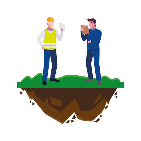 male builders constructors workers on the lawn vector illustration design