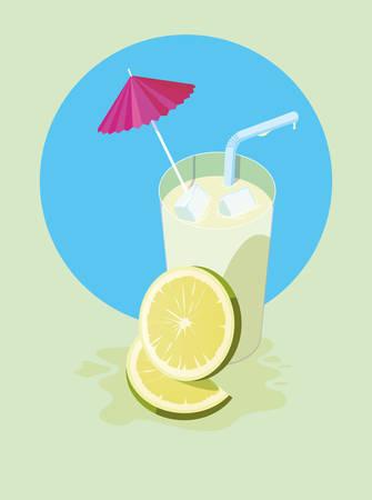 Diseño de jugo de limón, bebida de vidrio, bebida, comida fresca y tema saludable, ilustración vectorial