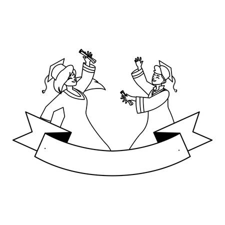 young couple students graduated celebrating with ribbon vector illustration design Illustration
