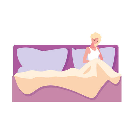 pregnant woman resting in bed vector illustration
