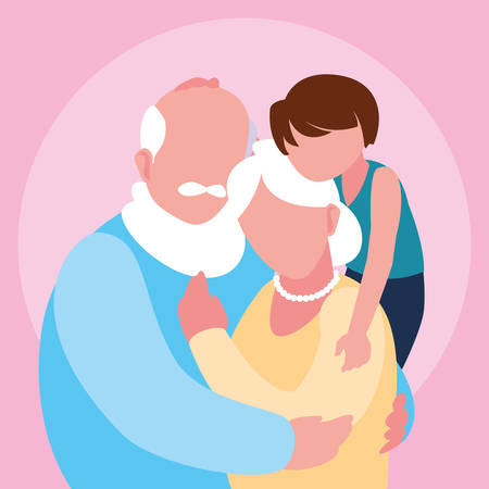 cute old couple hugged with grandson vector illustration design Фото со стока - 136419994
